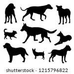 Stock vector black dogs silhouettes isolated on white background 1215796822