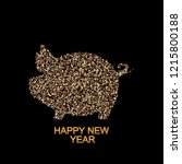 new year vector of golden pig | Shutterstock .eps vector #1215800188