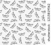 outline origami boat seamless...   Shutterstock .eps vector #1215819562