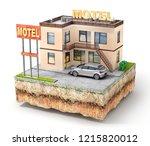 travel concept. motel on the... | Shutterstock . vector #1215820012