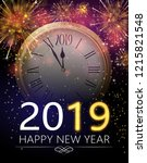 happy new year 2019 greeting... | Shutterstock .eps vector #1215821548