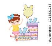 happy birthday girl cartoons   Shutterstock .eps vector #1215831265