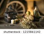 decorations on halloween... | Shutterstock . vector #1215861142