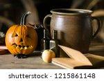 decorations on halloween... | Shutterstock . vector #1215861148