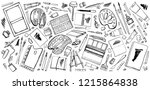 vector set of hand drawn sketch ... | Shutterstock .eps vector #1215864838