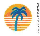 pixel art of retro background... | Shutterstock .eps vector #1215877942