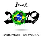 abstract number 2019 and soccer ... | Shutterstock .eps vector #1215902272