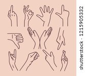 collection of handdrawn hands... | Shutterstock .eps vector #1215905332