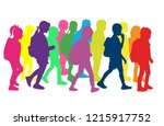 silhouette of a child with a...   Shutterstock .eps vector #1215917752