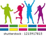 dancing people silhouettes....   Shutterstock .eps vector #1215917815