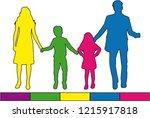 family silhouettes .   Shutterstock .eps vector #1215917818