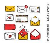 postal set doodle icons | Shutterstock .eps vector #1215919048