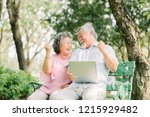 happy senior asian couple... | Shutterstock . vector #1215929482