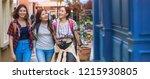 young women walking city street.   Shutterstock . vector #1215930805