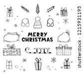hand drawn set of christmas... | Shutterstock .eps vector #1215931195