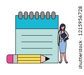 businesswoman with notepad and... | Shutterstock .eps vector #1215956728