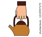 hand holding coffee maker kettle | Shutterstock .eps vector #1215957175