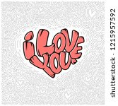 big heart with lettering   i...   Shutterstock .eps vector #1215957592
