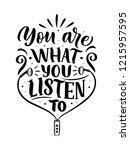 inspirational quote about music....   Shutterstock .eps vector #1215957595