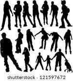 rollerskating silhouettes  ... | Shutterstock .eps vector #121597672