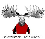 hand drawn moose with huge... | Shutterstock . vector #1215986962