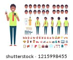 front  side  back view animated ... | Shutterstock .eps vector #1215998455
