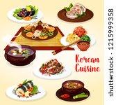 vector korean noodle bibimbap... | Shutterstock .eps vector #1215999358