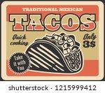 tacos mexican cuisine...   Shutterstock .eps vector #1215999412