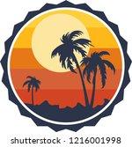 sunset at beach   vector... | Shutterstock .eps vector #1216001998