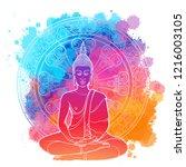 buddha meditating in the single ...   Shutterstock .eps vector #1216003105