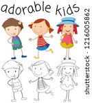 set of doodle adorable kids... | Shutterstock .eps vector #1216005862