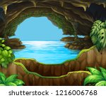 natural water in cave... | Shutterstock .eps vector #1216006768