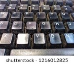 a picture of dirty keyboard in... | Shutterstock . vector #1216012825