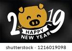happy new year 2019. typography ... | Shutterstock .eps vector #1216019098