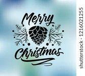 merry christmas. typography.... | Shutterstock .eps vector #1216021255