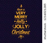 merry christmas. typography.... | Shutterstock .eps vector #1216021285