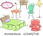 Stock vector illustration of home furniture featuring a bed a corner table a chair a dresser a lampshade and 121602718
