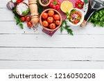 vegetable background. fresh... | Shutterstock . vector #1216050208