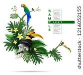 exotic tropical leaf background ... | Shutterstock .eps vector #1216052155