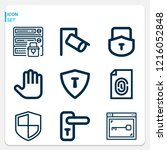 simple set of  9 outline icons... | Shutterstock .eps vector #1216052848