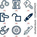 simple set of  9 outline icons... | Shutterstock .eps vector #1216055425