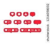 like  follower  comment icon set | Shutterstock .eps vector #1216058032