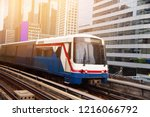 bts skytrain bangkok city with... | Shutterstock . vector #1216066792