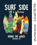 surf board and type print | Shutterstock .eps vector #1216078798