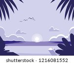 tropical seascape scene icon | Shutterstock .eps vector #1216081552