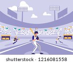 baseball sport stadium scene | Shutterstock .eps vector #1216081558
