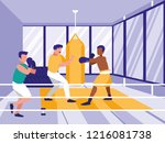 men practicing boxing in gym | Shutterstock .eps vector #1216081738