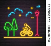 cycle park neon light glowing...   Shutterstock .eps vector #1216083388