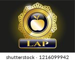 golden badge with apple icon... | Shutterstock .eps vector #1216099942