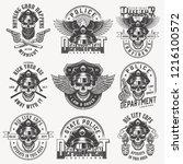 vintage monochrome police... | Shutterstock .eps vector #1216100572